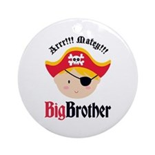 Blonde Hair Pirate Big Brother Ornament (Round)