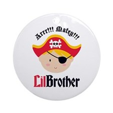 Blonde Hair Pirate Little Brother Ornament (Round)