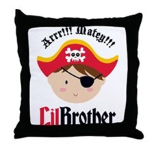 Brown Hair Pirate Little Brother Throw Pillow