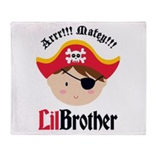 Brown Hair Pirate Little Brother Throw Blanket