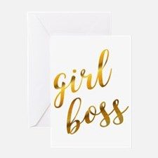 Girl boss sassy quote gold foil Greeting Cards