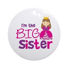 Brown Hair Princess Big Siste Ornament (Round)