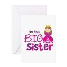 Brown Hair Princess Big Siste Greeting Card