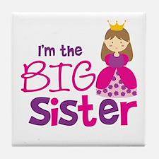 Brown Hair Princess Big Siste Tile Coaster