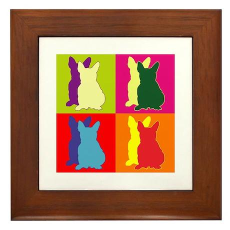 French Bulldog Silhouette Pop Art Framed Tile