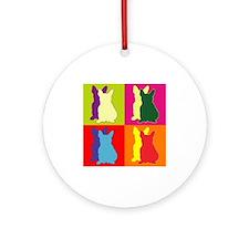 French Bulldog Silhouette Pop Art Ornament (Round)