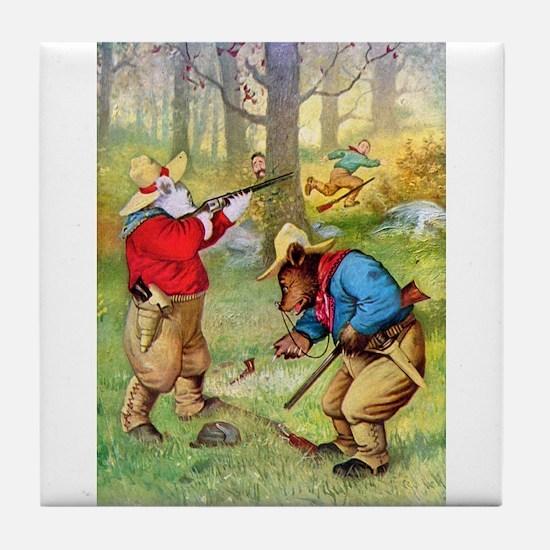 Roosevelt Bears as Cowboy Hunters Tile Coaster