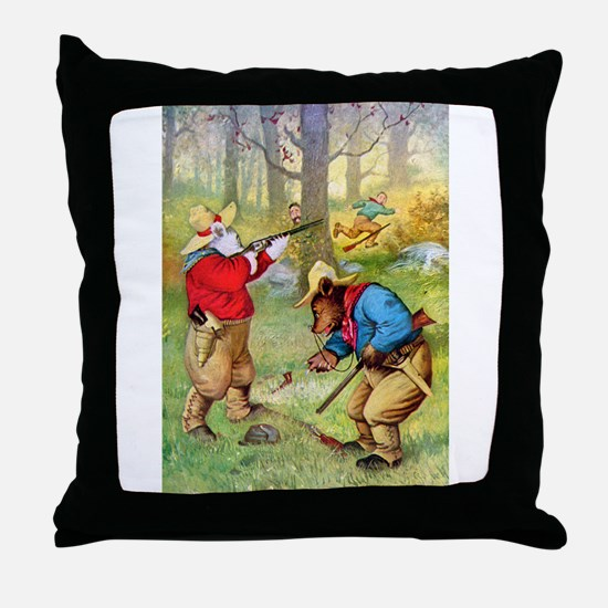 Roosevelt Bears as Cowboy Hunters Throw Pillow