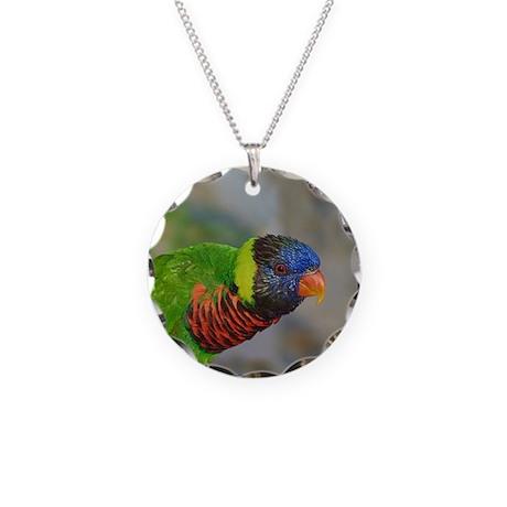 Rainbow Lorikeet Necklace W/Circle Charm