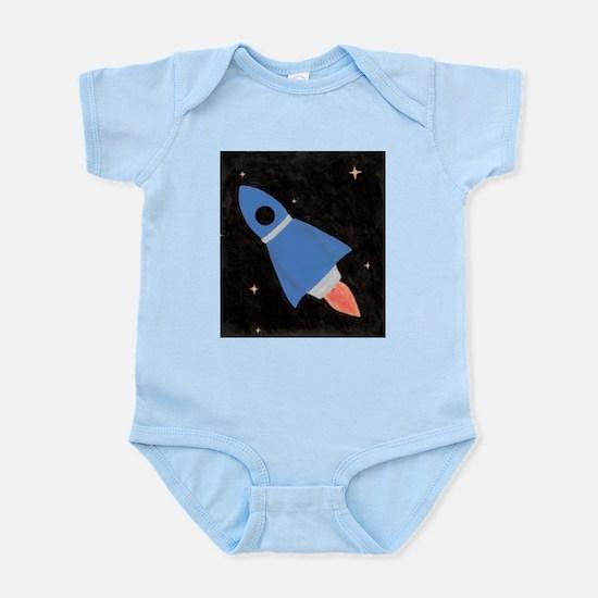 Blue Rocket Ship in Outer Spa Infant Bodysuit