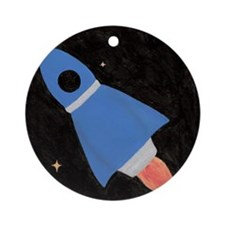 Blue Rocket Ship in Outer Spa Ornament (Round)