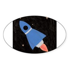 Blue Rocket Ship in Outer Spa Decal
