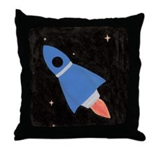 Blue Rocket Ship in Outer Space Throw Pillow