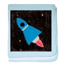 Blue Rocket Ship in Outer Spa baby blanket