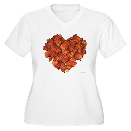 Bacon Heart - Women's Plus Size V-Neck T-Shirt
