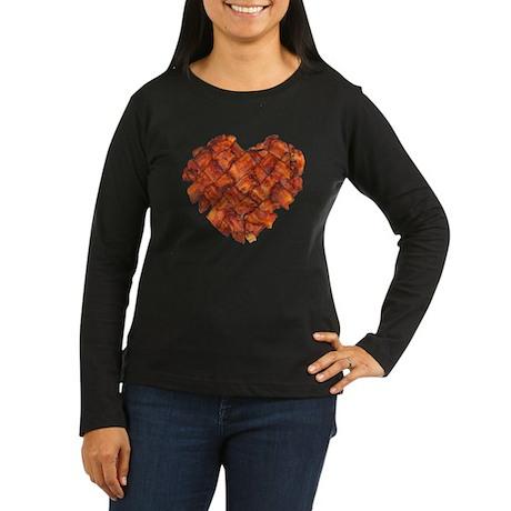 Bacon Heart - Women's Long Sleeve Dark T-Shirt
