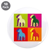 "Pitbull Terrier Silhouette Pop Art 3.5"" Button (10"