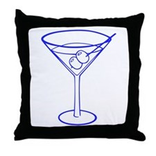 Blue Martini Glass Throw Pillow