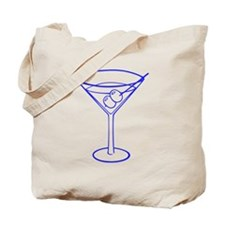 Blue Martini Glass Tote Bag
