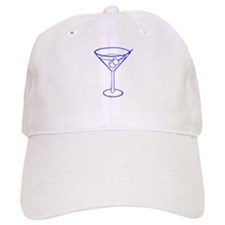 Blue Martini Glass Baseball Cap