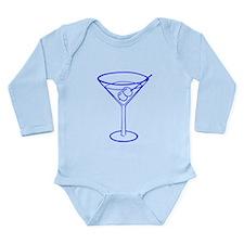Blue Martini Glass Long Sleeve Infant Bodysuit
