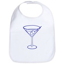 Blue Martini Glass Bib