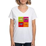 Pointer Silhouette Pop Art Women's V-Neck T-Shirt