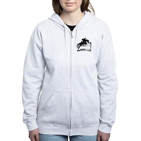 Show Jumper on a dark horse Women's Zip Hoodie