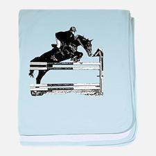 Show Jumper on a dark horse baby blanket