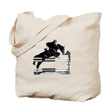 Show Jumper on a dark horse Tote Bag