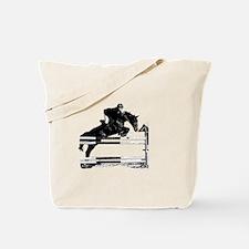 Show Jumper on a dark horse Tote Bag