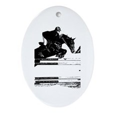 Show Jumper on a dark horse Ornament (Oval)