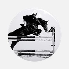 Show Jumper on a dark horse Ornament (Round)