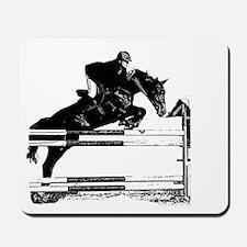 Show Jumper on a dark horse Mousepad