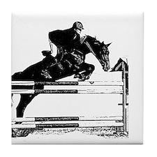 Show Jumper on a dark horse Tile Coaster