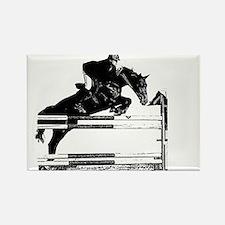 Show Jumper on a dark horse Rectangle Magnet
