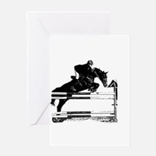 Show Jumper on a dark horse Greeting Card