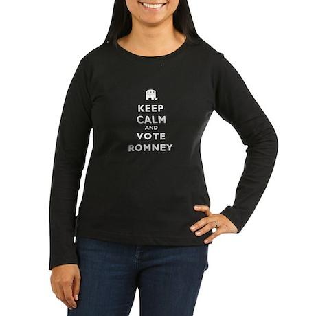 Keep Calm And Vote Romney Women's Long Sleeve Dark