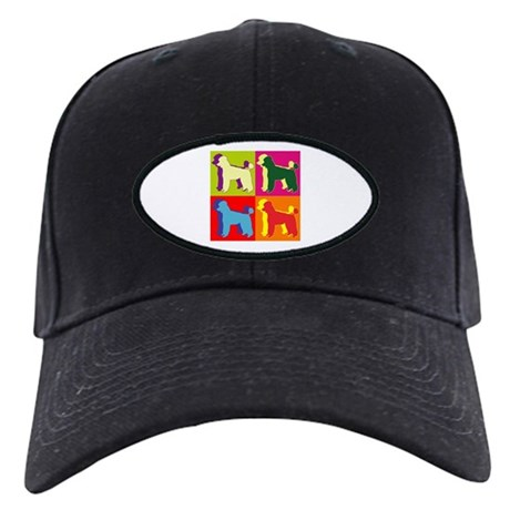 Poodle Silhouette Pop Art Black Cap