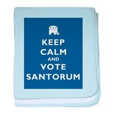 Keep Calm And Vote Santorum baby blanket