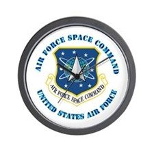Air Force Space Cmd with Text Wall Clock