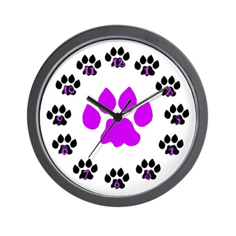 Paws Up Purple Paw Wall Clock