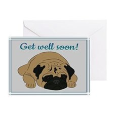 Pug (get well) Greeting Card