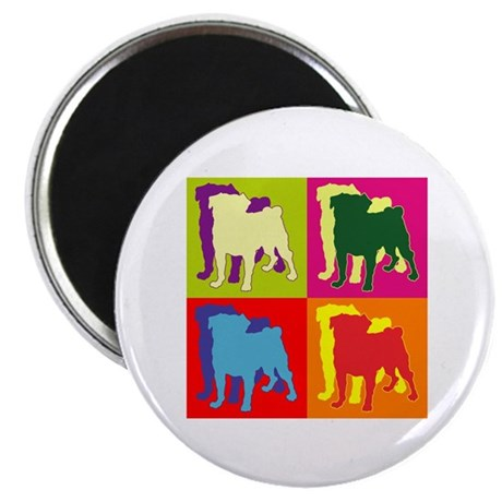 "Pug Silhouette Pop Art 2.25"" Magnet (10 pack)"