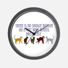 No Snooze Button for Kitties Wall Clock