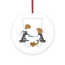 Cute Puppy Typewriter Ornament (Round)