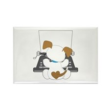 Cute Puppy Typewriter Rectangle Magnet