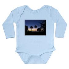 Tropical Beach Palm Trees Long Sleeve Infant Bodys
