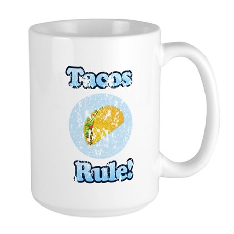 Vintage Tacos Rule Large Mug