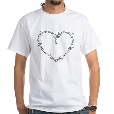 """Barbed Wire Heart"" White T-Shirt"